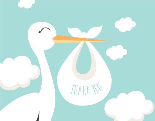 Special Stork Baby Shower Thank You Cards
