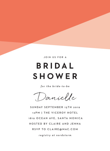 mod angles bridal shower invitations