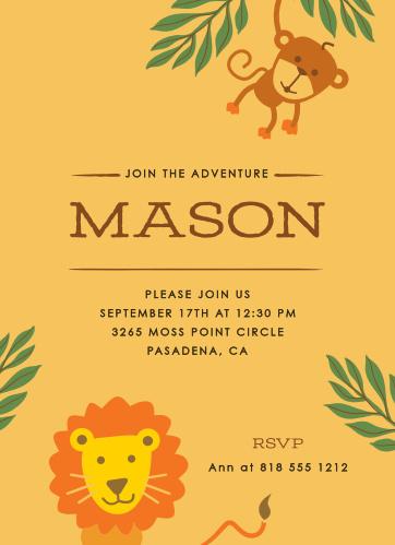 Jungle Safari Childrens Birthday Party Invitations