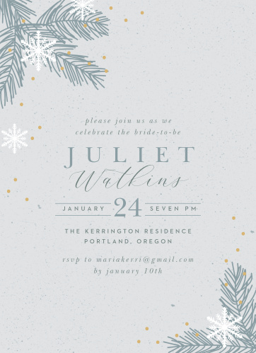 winter wonder bridal shower invitations
