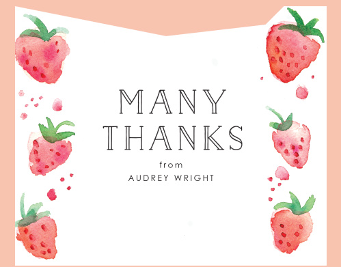 Strawberry Fun Childrens Birthday Party Thank You Cards