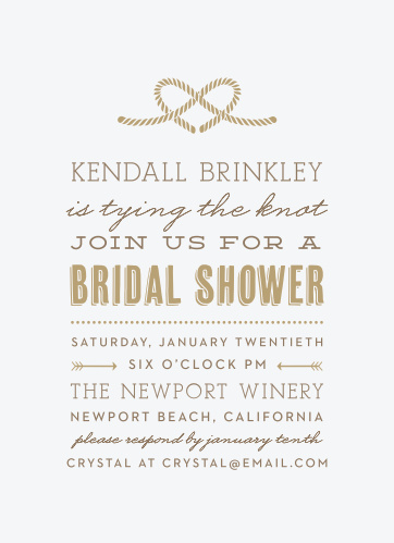 heart knot bridal shower invitations
