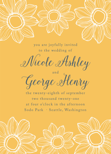 sunflower wedding invitations match your color style free