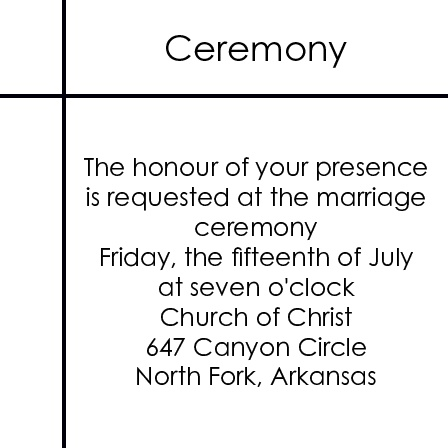 The Clean Lines Ceremony Cards
