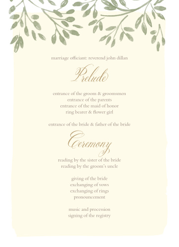 Vines & Leaves Wedding Programs