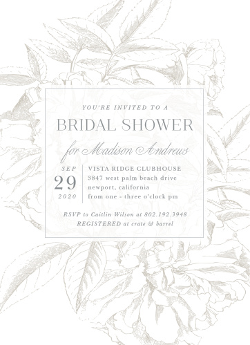 pretty peonies bridal shower invitations