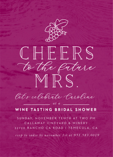 time for wine bridal shower invitations