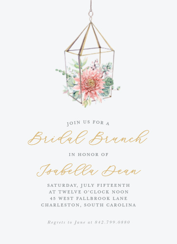 succulent brunch bridal shower invitations
