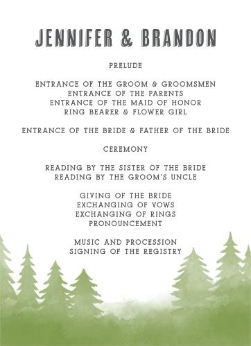 Woodsy Wedding Wedding Programs