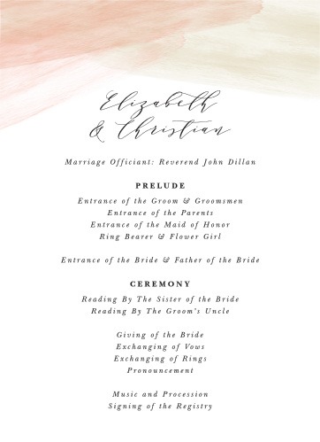 Paint Overlay Wedding Programs