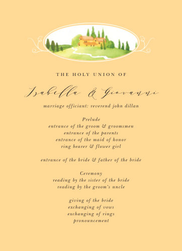 Tuscany Vineyard Wedding Programs