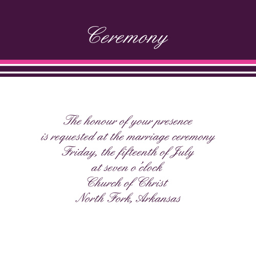 Ribbon and Damask Ceremony Cards