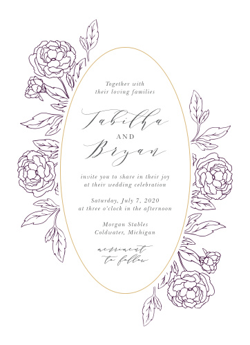 Grape Peonies Wedding Invitations