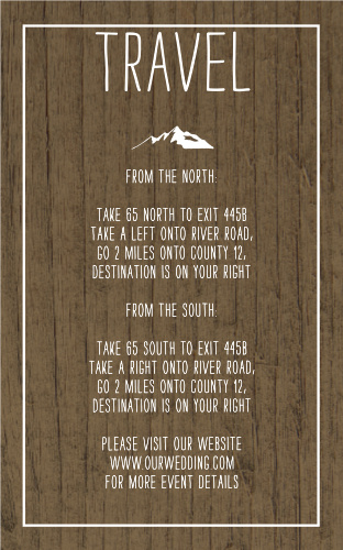 Rustic Union Direction Cards