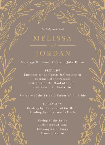 Foliage Arch Wedding Programs