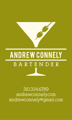Bartender Business Cards Match Your Color Style Free
