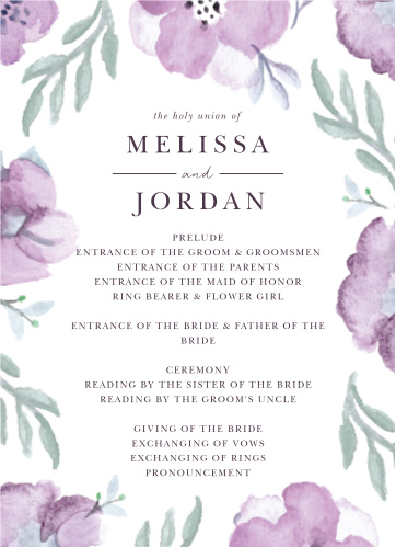 Mauve Medley Wedding Programs