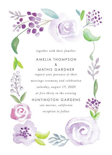 Mauve Florals Wedding Invitations