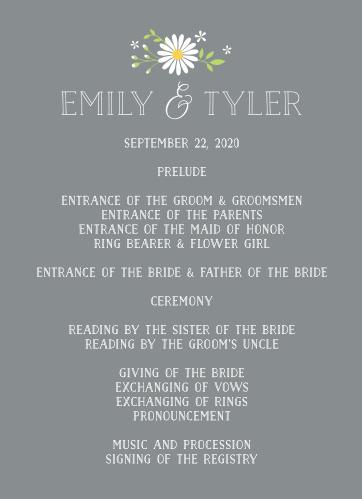 Daisy Frame Wedding Programs
