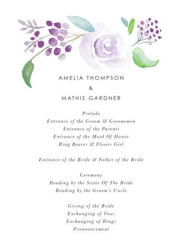 Mauve Florals Wedding Programs