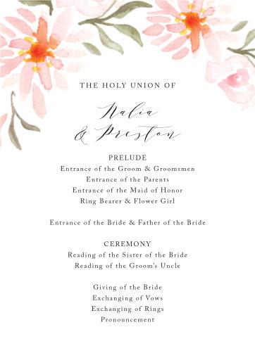 Daisy Festival Wedding Programs