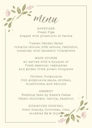 Wildflower Ampersand Wedding Menus