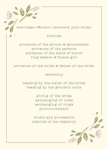 Wildflower Ampersand Wedding Programs