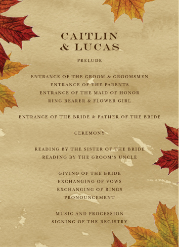 Leaves of Fall Wedding Programs