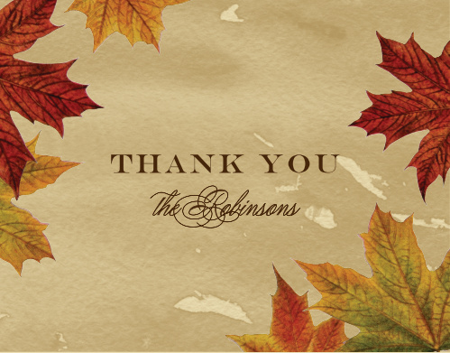 Leaves of Fall Wedding Thank You Cards