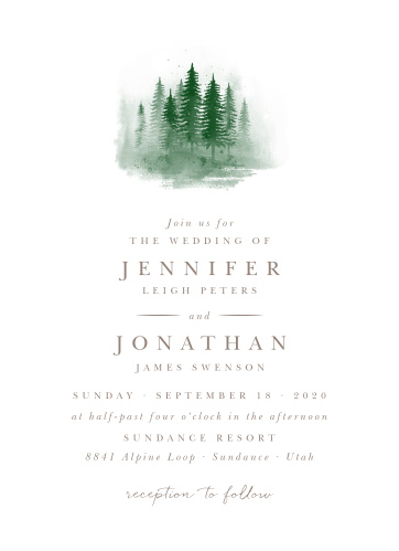 Watercolor Pines Wedding Invitations