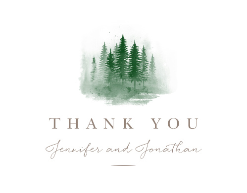 Watercolor Pines Wedding Thank You Cards