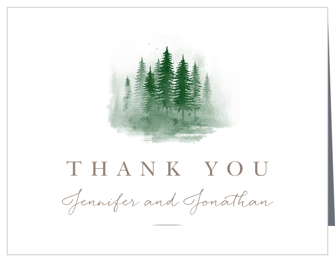 watercolor pines wedding thank you cards by basic invite watercolor pines wedding thank you cards