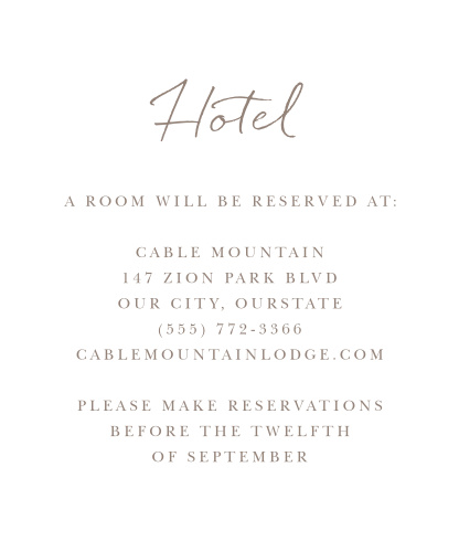 Watercolor Pines Accommodation Cards