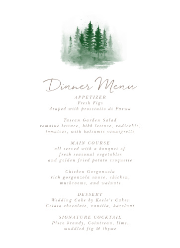 Watercolor Pines Wedding Menus