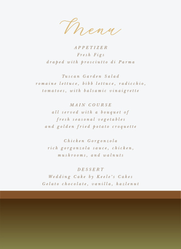 Moody Mountains Wedding Menus