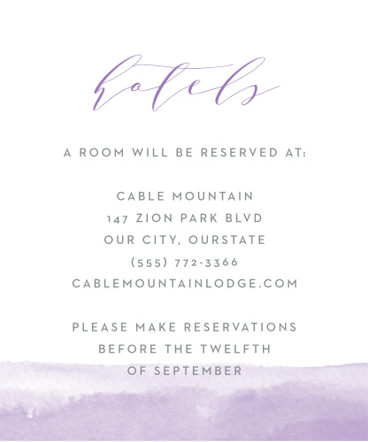 Lilac Dip Dye Accommodation Cards
