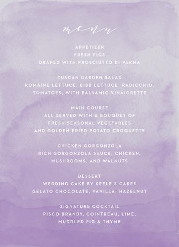 Lilac Dip Dye Wedding Menus