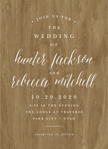 Woodgrain Calligraphy Wedding Invitations