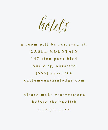 Woodgrain Calligraphy Accommodation Cards
