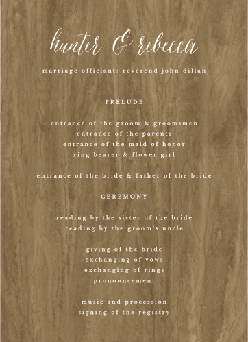 Woodgrain Calligraphy Wedding Programs