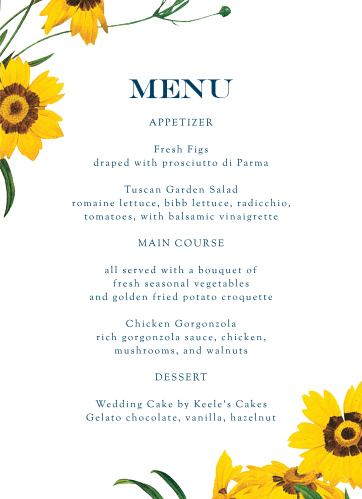 Framed Sunflowers Wedding Menus