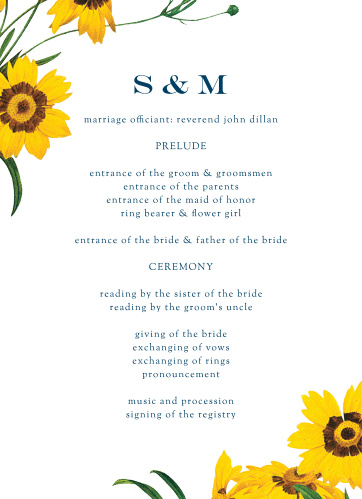 Framed Sunflowers Wedding Programs