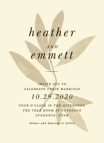 Pressed Leaf Wedding Invitations