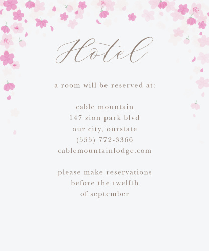 Cherry Blossoms Accommodation Cards
