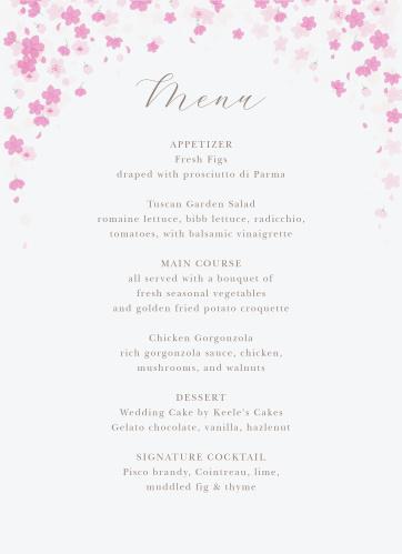 Cherry Blossoms Wedding Menus