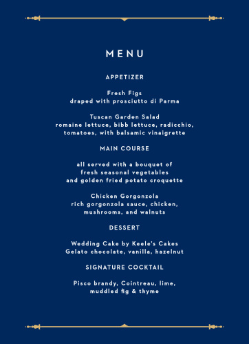 Happily Ever After Wedding Menus