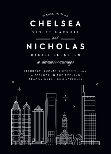 Philly Skyline Wedding Invitations