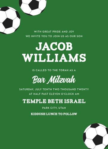 Soccer Stacks Bar Mitzvah Invitations