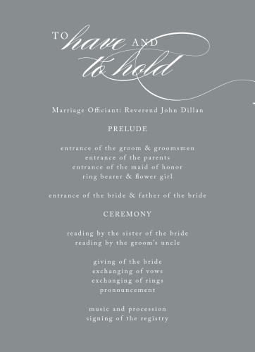 Simply Scripted Wedding Programs