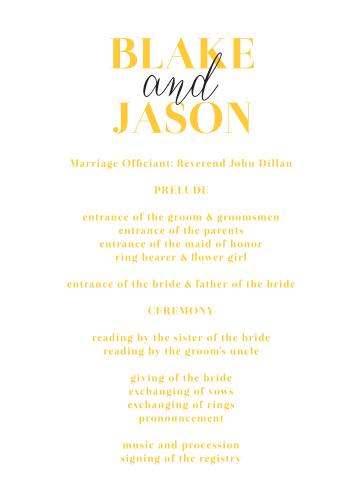 Bold Day Wedding Programs